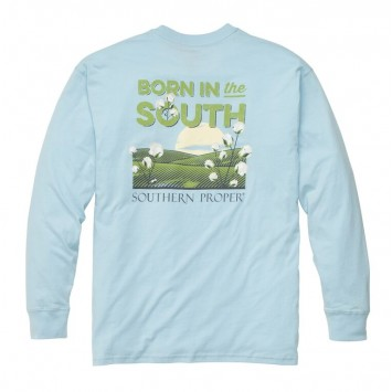 Born In The South: Sky Blue Long Sleeve